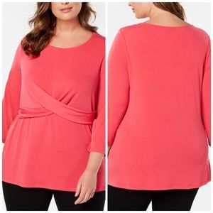 1X 2X Alfani Pink Crossover Long Sleeve Blouse
